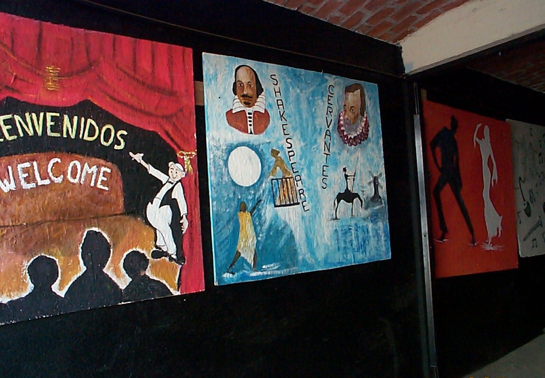 Theater entrance murals