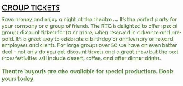 Group Tickets discount for parties of 10 or more